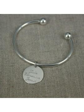Bracelet Jonc ouvert boules en argent 925 + médaille