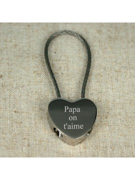 Porte-clés coeur câblé à graver