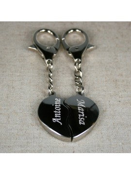 Porte clés coeur bombé à gravé en 2 parties