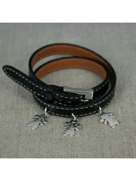 bracelet en cuir couture sellier 1,2,3... médailles
