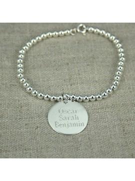 Bracelet boules argent 4 mm 1,2,3 ... médailles