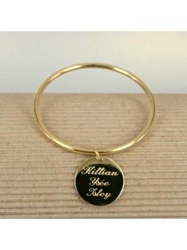 Bracelet Jonc avec 1 médaille gravée en argent ou vermeil