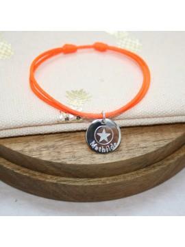 Bracelet médaille 15mm avec motif étoile à graver