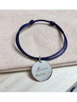 """Bracelet médaille personnalisé """"merci maîtresse"""""""