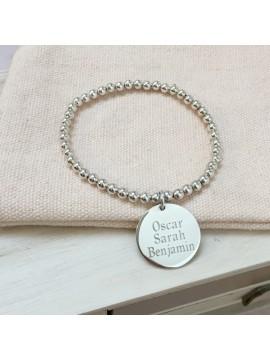Bracelet boules argent + médaille personnalisée