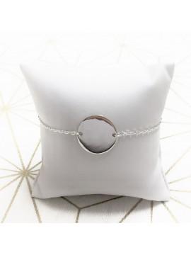 Bracelet gourmette médaille ronde à graver