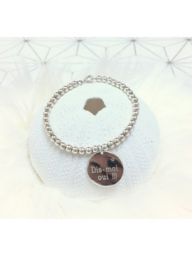 Bracelet boules argent 1,2,3 ... médailles