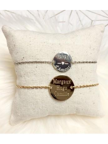 Bracelet pastille 15 mm sur chaînette personnalisé