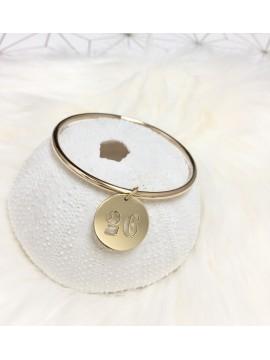 Bracelet jonc + médaille ajourée