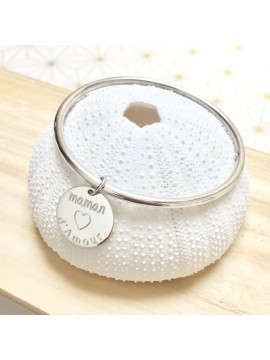 Bracelet Jonc médaille 15 mm gravée