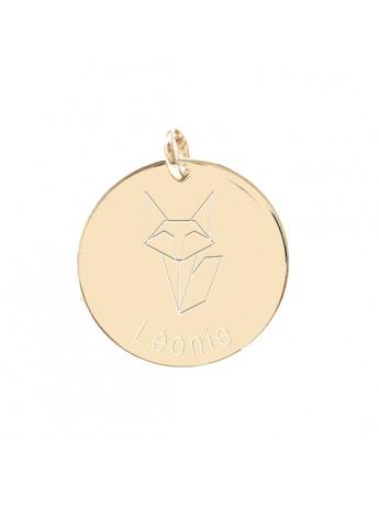 Médaille personnalisée renard origami police d'écriture Marius