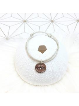 """Bracelet médaille 15 mm gravée thème """"merci maîtresse"""""""
