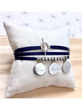 Bracelet ou collier 2, 3, 4, 5 médailles montées sur ruban fin ®