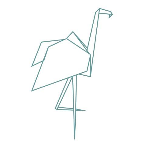 thème origami : flamant rose